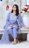 Blue Cotton Top with Embroidery, Blue Cotton Trouser and Blue Soft Net Dupatta with Pearl Pico