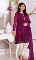 Purple Two Tone Chiffon with Hand Adda Work Placket and Screen Print with Lining Inside, Golden Jersey Tights and Purple Chiffon Dupatta with Gold Lace
