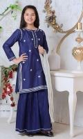 Navy Blue Cotton Top with Gota Adda Work, Navy Blue Cotton Gharara with Gota Lace Work & Silver Crush Dupatta