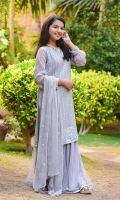 Grey Chiffon Fully Embroidered with Lining Inside, Grey Net Gharara with Lining and Laces & Grey Chiffon Dupatta with Embroidery
