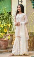 Light Pink Chiffon Fully Embroidered with Hand Adda Work on Placket and Laces + Lining Inside, Light Pink Soft Net Gharara Screen Printed with Laces and Lining Inside, Net Dupatta Screen Printed with Pearl Pico