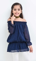 Navy Blue Printed Chiffon Shoulder Drop Top with Lining