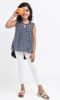 Navy Blue Printed Chiffon Top with Lining and Brouche