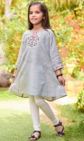Light Grey Chambray Cotton Top with Embroidery