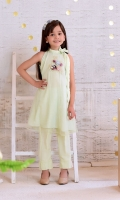Mint Green Top with Applique Embroidered 3D Motif and Lining Inside, Mint Green Raw Silk Trouser