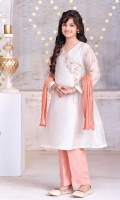 White Zari Missouri Top with Embroidery and Lining Inside, Peach Raw Silk Trousers and Peach Crush Dupatta