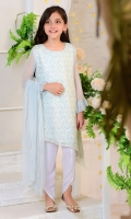 Tiffany Blue Chiffon with Embroidery and Lining Inside, White Boski Linen Tulip Pants and Chiffon Dupatta with Pearl Pico