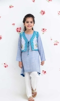 Blue Chambray Cotton Coat with Embroidery, Chambray Kurta and White Cotton Straight PantsBlue Chambray Cotton Top with Trouser