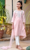 Light Pink Cotton with Embroidery and Mirror Work, White Cotton Trouser and Light Pink Soft Net Dupatta with Pearl Pico