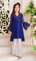 Royal Blue Chiffon With Hand Adda Work and Lining Inside,White Boski Linen Gharara Pants
