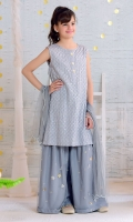Grey Cotton Silk Top with Sequence Embroidery, Grey Net Gharara with Embroidery and Lining, Grey Soft Net Dupatta with Pearl Pico