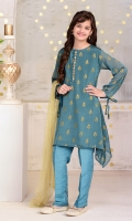 Teal Blue Chiffon with Screen Print And Hand Adda Work Placket with Lining Inside, Teal Blue Raw Silk Trouser and Gold Net Dupatta