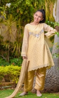 Beige Cotton Jacquard Top with Hand Adda Work and Embroidery with Lining Inside, Gold Banarasi Trouser & Gold Crush Dupatta