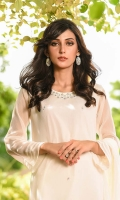 Off White Chiffon Top with Hand Adda Work and Lining Inside, Off White Chiffon Bell Bottom Trouser with Lace and Lining, Off White Chiffon Dupatta with Lace Work.
