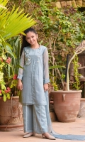 Ash Grey Chiffon Top with Applique Embroidered Motif and Lace Work with Lining Inside, Ash Grey Chiffon Trouser With Lace and Lining Inside, Ash Grey Chiffon Dupatta with Embroidery