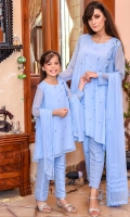 Chambray Blue Chiffon with Hand Adda Work and Lining Inside, Chambray Blue Raw Silk Trouser and Chambray Blue Chiffon Dupatta with Pleets