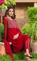 Maroon Chiffon Kurta with Embroidery and Stone Work with Lining Inside, Maroon Raw Silk Trouser and Maroon Chiffon Dupatta with Lace