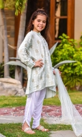 Steel Grey Cotton Silk with Screen Print and Hand Adda Work on Placket, White Linen Tulip Pants with Lace, Steel Grey Soft Net Dupatta.