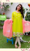 Fabric: Chiffon kurta with Embroidery with Chiffon Dupatta Embroidered Patta