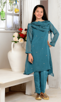 Teal Blue Chiffon with Adda Sequence Touching and Lining Inside, Teal Blue Raw Silk Trouser.