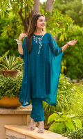 Emerald Green Chiffon Top with Hand Adda Work and Lining Inside, Emerald Green Raw Silk Trouser