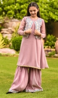 Rose Pink Zari Chiffon Top with Lace, Rose Pink Raw Silk Fully Embroidered Coat and Rose Pink Raw Silk Gharara with Embroidery