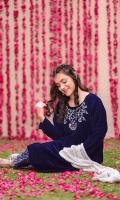 Navy Blue Velvet Top with Hand Adda Work, Navy Blue Banarasi Straight Pant & Silver Crush Dupatta
