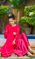 Hot Pink Chiffon with Hand Adda Work and Laces with Lining Inside, Hot Pink Charmeuse Silk Gharara with Laces, Hot Pink Chiffon Dupatta with Lace Work