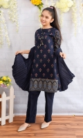 Navy Blue Cotton Top with Screen Print and Tassels, Navy Blue Cotton Straight Pants & Navy Blue Crush Dupatta