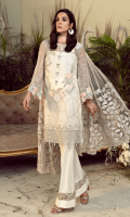 Embroidered chiffon for front: 1 yard  Embroidered chiffon for back: 1 yard  Embroidered organza border for front & back: 2 yards  Embroidered chiffon for sleeves: 0.75 yard  Embroidered Net for dupatta: 2.75 yards  Raw silk for trousers: 2.50 yards  Embroidered organza border for trousers: 1 yard