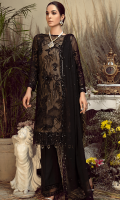 Embroidered chiffon for front: 1 yard  Embroidered chiffon for back: 1 yard  Embroidered organza border for front & back: 2 yards  Embroidered chiffon for sleeves: 0.75 yard  Embroidered organza 1 inch's border for sleeves: 1 yard  Embroidered chiffon dupatta: 2.75 yards  Raw silk for trousers: 2.50 yards  Embroidered organza border for trousers: 1.25 yards