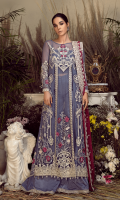 Embroidered chiffon for front & back yoke: 0.75  Embroidered chiffon for front center panel: 1 pcs  Embroidered chiffon for front side panels left & right: 2 pcs  Embroidered organza border for front: 1 yard  Embroidered organza 1 inch's border for front & trouser: 3 yards  Plain chiffon for back: 1 yard  Embroidered organza border for back: 1 yard  Embroidered chiffon for sleeves: 0.75 yard  Embroidered organza 1 inch's border for sleeves: 1 yard  Embroidered chiffon for dupatta: 2.75 yards  Raw silk for trousers: 2.50 yards