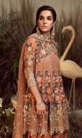 Embroidered chiffon for front yoke: 0.75 yard  Embroidered chiffon for front & back panels: 10pcs  Embroidered organza border for frock & sleeves: 4.25 yards  Embroidered chiffon for sleeves: 0.75 yard  Embroidered Net for dupatta: 2.75 yards  Raw silk for trousers: 2.50 yards  Embroidered organza border for trousers: 2 yards