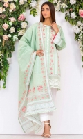 - 2.5M Lawn Shirt (Wider Width)  - Embroidered Tissue Border and placket  - 2.5M Lawn Dupatta