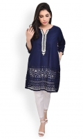 100% Cotton shirt with cutwork  Hand embroidered neckline Straight shirt and sleeves with embellished pockets