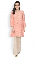 Cotton net ready to wear formal shirt Embellished neckline straight cut with straight full sleeves