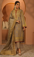 - 2.5mtr Lawn Pearl Printed Shirt (Wider Width)  - 2.5mtr Fancy Jacquard Dupatta  - 1.5mtr Cambric Pants (Wider Width)  - Dori and Sequence Embroidered Shirt