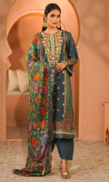 - 2.5mtr Lawn Pearl Printed Shirt (Wider Width)  - 2.5mtr Pure Silk Digital Printed Dupatta  - 1.5mtr Cambric Pants (Wider Width)  - Hand Embroidered Neckline & Booti on Shirt