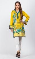- Digital printed kurti  - Straight cut kurta  -V neckline with organza pleats and pearls  - Full straight sleeves with organza pleats and slit