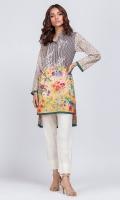 - Digital printed kurti  - High low cut kurta  High collar V neckline with pearls  Straight full sleeves