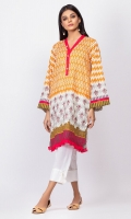 - Digital printed kurti  - Straight cut kurta  - Full bell sleeves  - Overlapped V neck with pearl     finish  - Daman with frilled finish