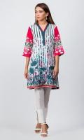 - Digital printed kurti  - Straight cut kurta  -V neckline  - Three quarter straight sleeves