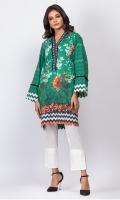- Digital printed kurti  - Straight cut kurta  - Overlapped V neck with    fray detailing  - Full Bell sleeves  - Embroidered Daman with cut work