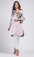 - Digital printed kurti  - Straight cut kurta  -High collar V neckline with pearls  - Straight sleeves with slit