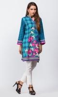 - Digital printed kurti  - Straight cut kurta  -High collar V neckline with pearls  - Full sleeves with pleats