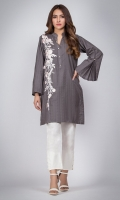 Straight solid shirt with pleated Bell sleeves. Pearl buttons on band collar neckline. one sided floral embrodiery on shirt.