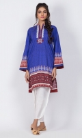 Ready to wear digital printed shirt.Band Collar with embrodiery on neckline.Straight cut shirt.