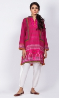 Ready to wear digital printed shirt.Band Collar neckline with lace trimmings on full sleeve.Straight cut shirt..