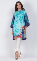 Ready to wear digital printed shirt. Boat neckline with a v-cut with tassel embellishedsleeves.Straight cut shirt.