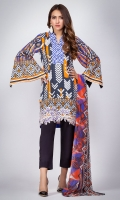 100% Ready To Wear Digital printed cambric shirt with V neckline with pleats with embroidery on daman. Flare sleaves with slit. Digital printed chiffon dupatta.